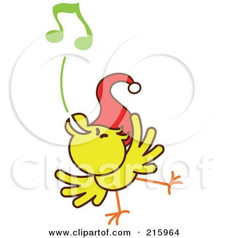 Royalty-Free (RF) Clipart Illustration of a Yellow Christmas Chicken Wearing A Santa Hat And Singing Carols - 5 by Zooco