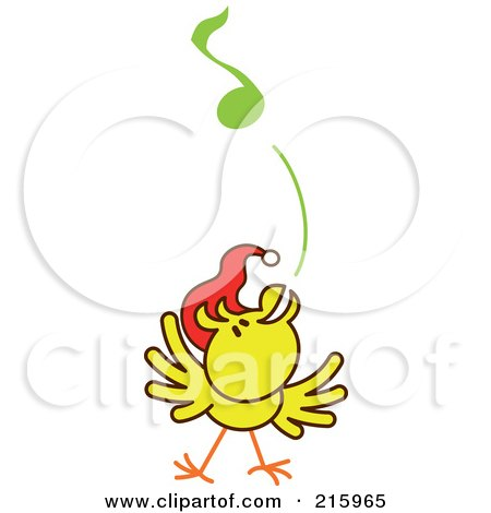 Royalty-Free (RF) Clipart Illustration of a Yellow Christmas Chicken Wearing A Santa Hat And Singing Carols - 4 by Zooco
