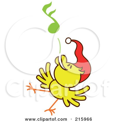 Royalty-Free (RF) Clipart Illustration of a Yellow Christmas Chicken Wearing A Santa Hat And Singing Carols - 6 by Zooco