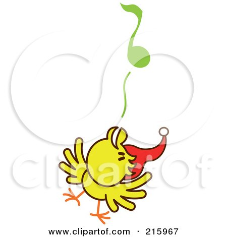 Royalty-Free (RF) Clipart Illustration of a Yellow Christmas Chicken Wearing A Santa Hat And Singing Carols - 2 by Zooco
