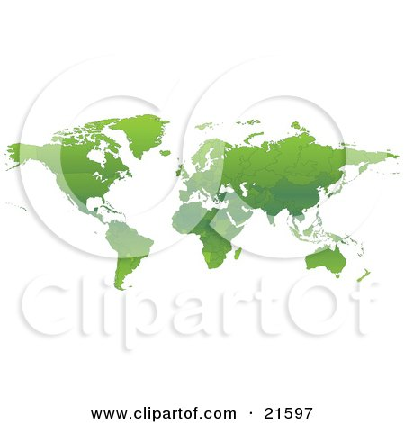 Clipart Illustration Graphic of a Map Of The Continents Of Planet Earth With Borders Of The Countries In Green Tones by Tonis Pan