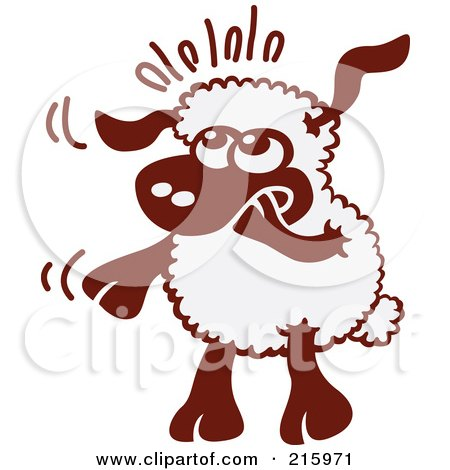 Royalty-Free (RF) Clipart Illustration of a Nervous Cartoon Sheep Nibbling His Hoof by Zooco