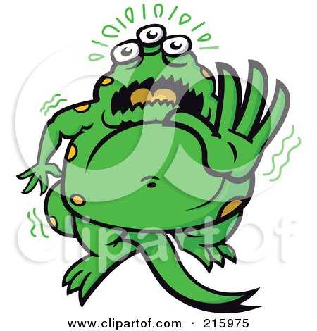 Royalty-Free (RF) Clipart Illustration of a Frightened Green Monster Holding Out His Hand by Zooco