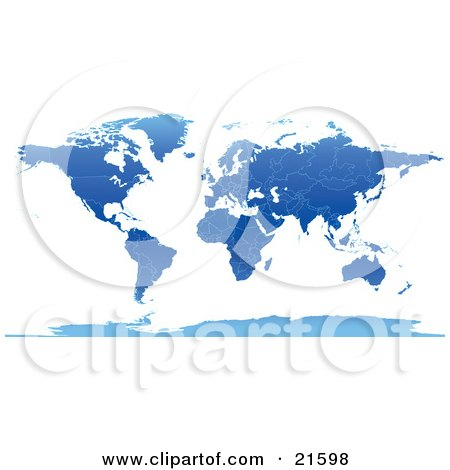 Clipart Illustration Graphic of a Map Of The Continents And Countries Of The Earth In Blue Tones by Tonis Pan