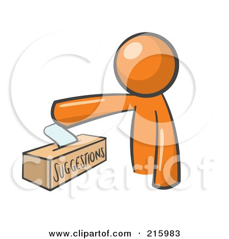 Royalty-Free (RF) Clipart Illustration of an Orange Man Design Mascot Inserting A Suggestion Note Into A Box by stephjs