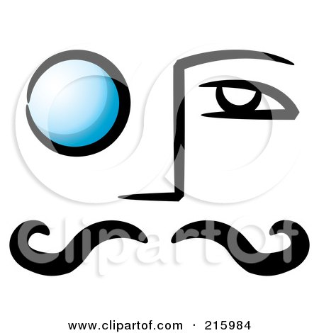 Royalty-Free (RF) Clipart Illustration of a Mans Face With A Blue Monocle Over His Eye by stephjs