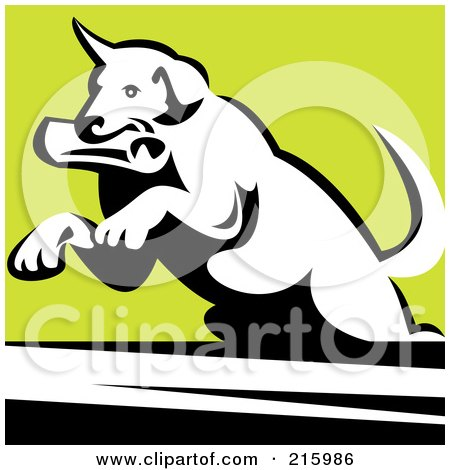Royalty-Free (RF) Clipart Illustration of a Dog Fetching A Newspaper And Leaping by patrimonio