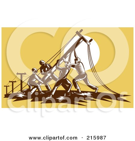 Royalty-Free (RF) Clipart Illustration of a Team Of Linemen Raising A Pole by patrimonio