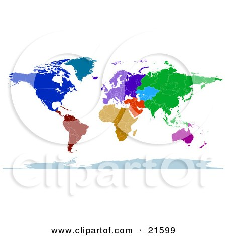 Clipart Illustration Graphic of a Colorful Map Of The Continents And Countries Of The Earth In Blue, Green, Red, Orange And Purple by Tonis Pan