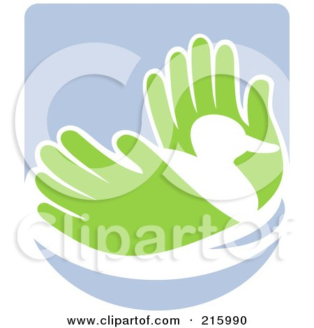 Royalty-Free (RF) Clipart Illustration of a Pair Of Hands Holding A Duck by patrimonio