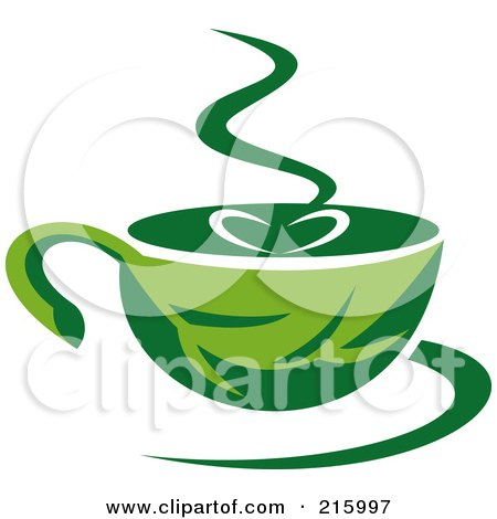 Royalty-Free (RF) Clipart Illustration of a Green Organic Coffee Cup by patrimonio