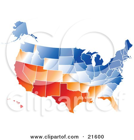 clipart ilration graphic of a gradient red orange white and blue united states of america map with all states on a white background by tonis pan