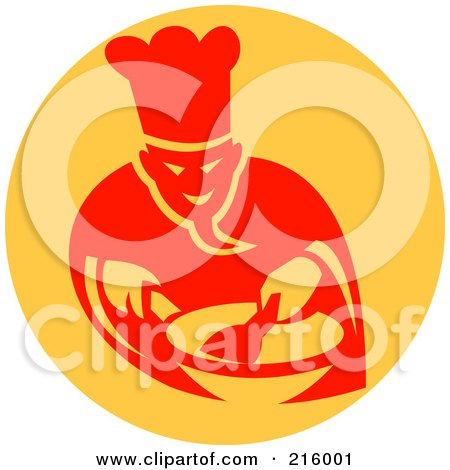 Royalty-Free (RF) Clipart Illustration of a Retro Chef Cooking In A Wok Logo by patrimonio
