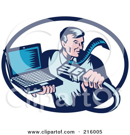 Royalty-Free (RF) Clipart Illustration of a Retro Styled Computer Repair Guy With A Cable And Laptop by patrimonio