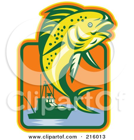 Royalty-Free (RF) Clipart Illustration of a Leaping Fish And Boat Logo by patrimonio