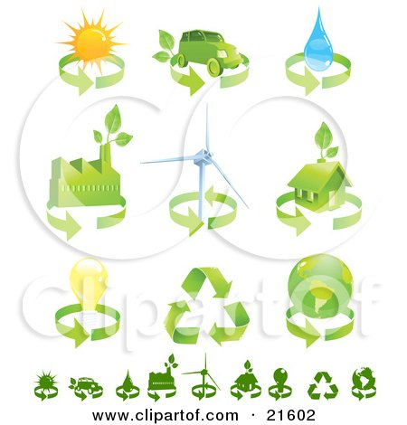 Clipart Illustration Graphic of a Collection Of Green Energy Icons Of Renewable Energy, Solar Power, Biofuel, Water, Factory, Wind Turbine, Green Home, Electricity, Recycling And Environment by Tonis Pan