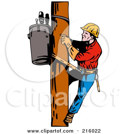 Royalty-Free (RF) Clipart Illustration of a Lineman On A Pole - 9 by patrimonio