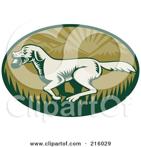 Royalty-Free (RF) Clipart Illustration of a Green Retro Fetching Dog Logo by patrimonio