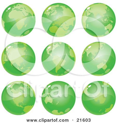 Clipart Illustration Graphic of Nine Green Global Views Of The Different Continents Of Planet Earth by Tonis Pan