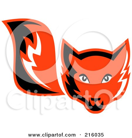 Royalty-Free (RF) Clipart Illustration of a Retro Red Fox Face And Tail by patrimonio
