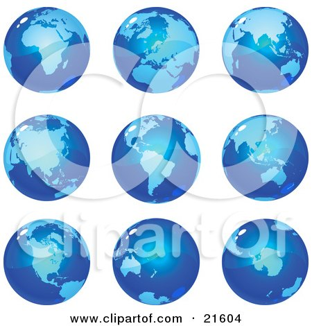Clipart Illustration Graphic of Nine Global Views Of The Different Continents On Planet Earth In Blue Tones by Tonis Pan