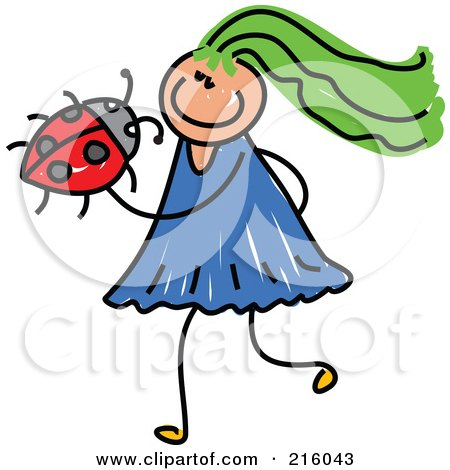 Royalty-Free (RF) Clipart Illustration of a Childs Sketch Of A Girl Holding A Ladybug by Prawny