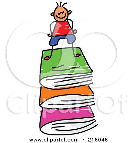 Royalty-Free (RF) Clipart Illustration of a Childs Sketch Of A Boy On A Stack Of Books by Prawny
