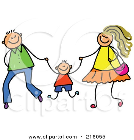 Royalty-Free (RF) Clipart Illustration of a Childs Sketch Of A Mom And Dad Swinging Their Son by Prawny