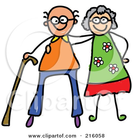 Royalty-Free (RF) Clipart Illustration of a Childs Sketch Of A Happy Elderly Couple by Prawny