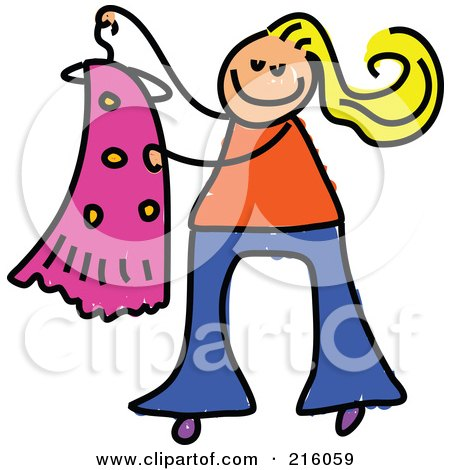Royalty-Free (RF) Clipart Illustration of a Childs Sketch Of A Blond Girl Holding A Dress On A Hanger by Prawny