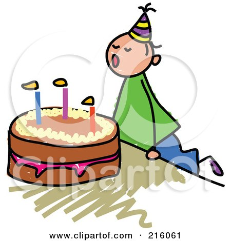 Royalty-Free (RF) Clipart Illustration of a Childs Sketch Of A Birthday Boy Blowing Out His Cake Candles by Prawny