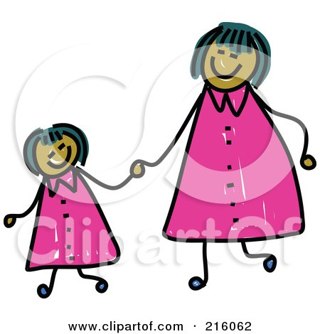 Royalty-Free (RF) Clipart Illustration of a Childs Sketch Of A Happy Mom And Daughter Holding Hands And Wearing Matching Clothes by Prawny