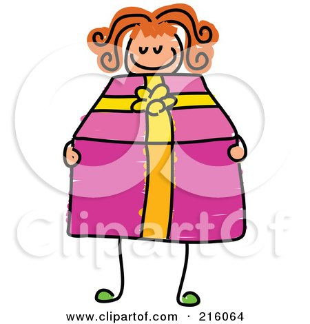 Royalty-Free (RF) Clipart Illustration of a Childs Sketch Of A Girl Holding A Pink Present by Prawny