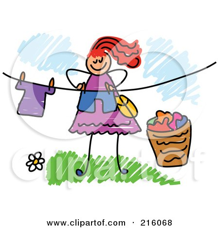 Royalty-Free (RF) Clipart Illustration of a Childs Sketch Of A Woman Hanging Laundry On A Line by Prawny