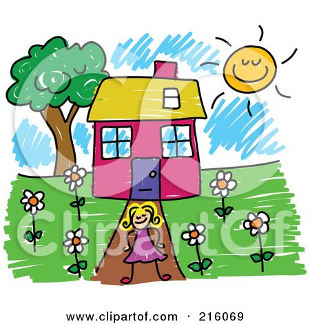 Royalty-Free (RF) Clipart Illustration of a Childs Sketch Of A Girl Standing In Front Of Her House by Prawny