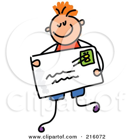 Royalty-Free (RF) Clipart Illustration of a Childs Sketch Of A Boy Holding An Envelope by Prawny