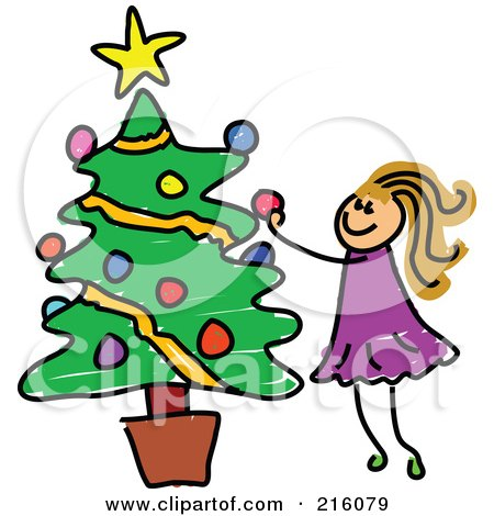 Royalty-Free (RF) Clipart Illustration of a Childs Sketch Of A Girl Decorating A Potted Christmas Tree by Prawny