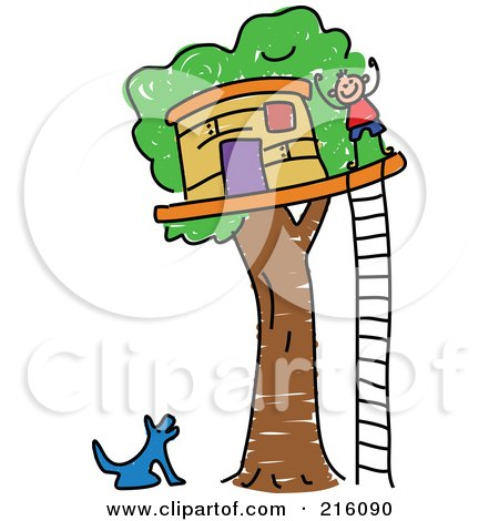 Royalty-Free (RF) Clipart Illustration of a Childs Sketch Of A Dog Barking At A Boy By His Tree House by Prawny