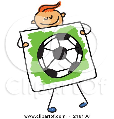 Royalty-Free (RF) Clipart Illustration of a Childs Sketch Of A Boy Holding A Drawing Of A Soccer Ball by Prawny
