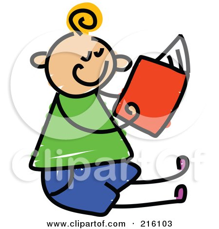 Royalty-Free (RF) Clipart Illustration of a Childs Sketch Of A Boy Sitting And Reading by Prawny
