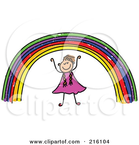 Royalty-Free (RF) Clipart Illustration of a Childs Sketch Of A Girl Under A Rainbow by Prawny