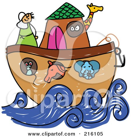 Royalty-Free (RF) Clipart Illustration of a Childs Sketch Of Noah's Ark by Prawny