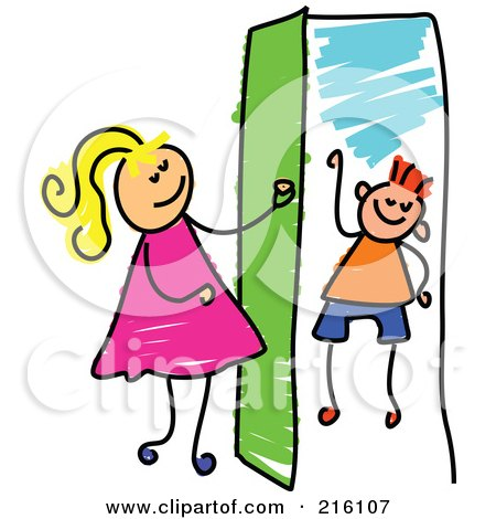 Royalty-Free (RF) Clipart Illustration of a Childs Sketch Of A Girl Opening A Door To A Boy by Prawny