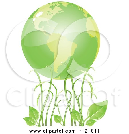Tall Green Grasses And Organic Leaves Under Green Planet Earth Posters, Art Prints