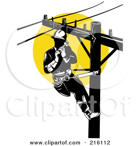 Royalty Free Rf Retro Lineman Clipart Illustrations