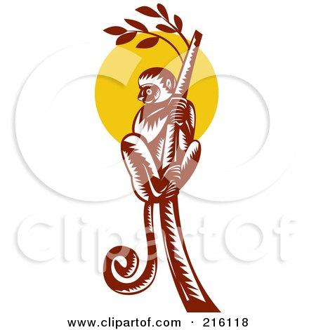 Royalty-Free (RF) Clipart Illustration of a Retro Lemur Climbing A Tree by patrimonio