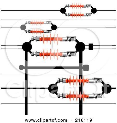 Royalty-Free (RF) Clipart Illustration of Conductors On Power Cables by patrimonio
