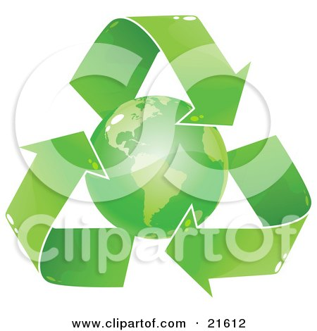 Clipart Illustration Graphic of a Green Earth Circled By Recycling Arrows, Over A White Background by Tonis Pan