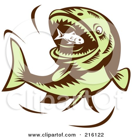 Royalty-Free (RF) Clipart Illustration of a Big Green Fish Eating A Little Fish by patrimonio