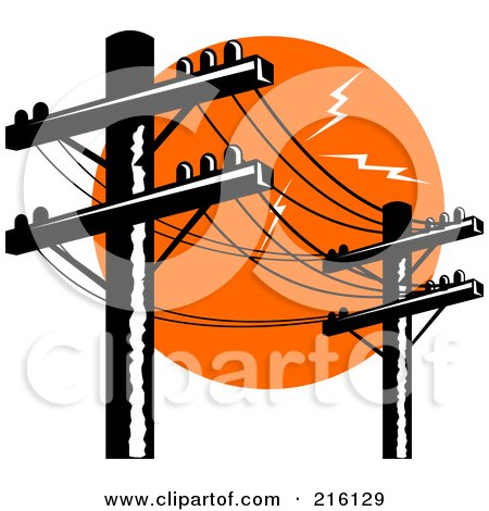 Royalty-Free (RF) Clipart Illustration of a Row Of Electric Poles by patrimonio